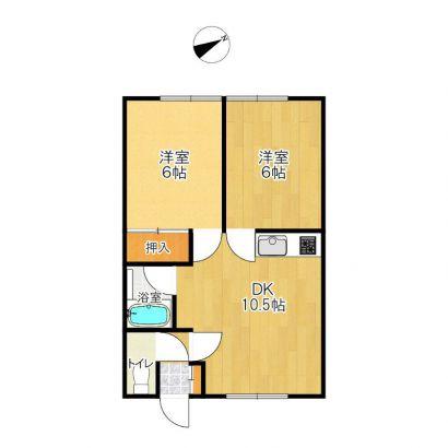 2DKです。反転の部屋あります。