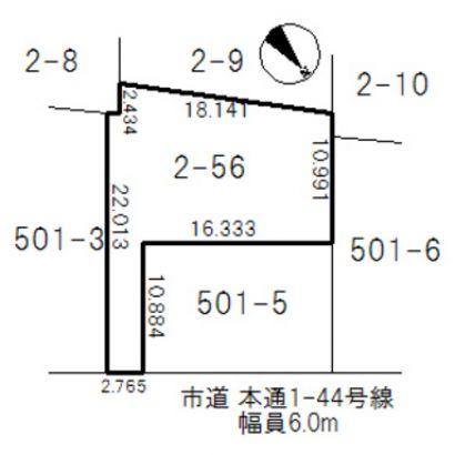 敷地説明図です。路地状敷地となっております。